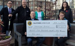 Another $25,000 from the Yaletown Lions Club. Thank you for your generosity and community spirit.